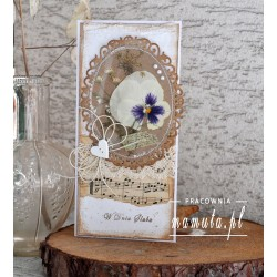 Kartka ślubna z suszonymi kwiatami