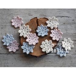 Szydełkowe, pastelowe śnieżynki 6szt