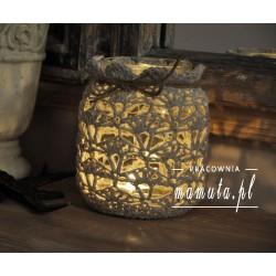 Lampion, świecznik w szydełkowej koronce
