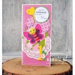 Kartka okolicznościowa z suszonymi kwiatami