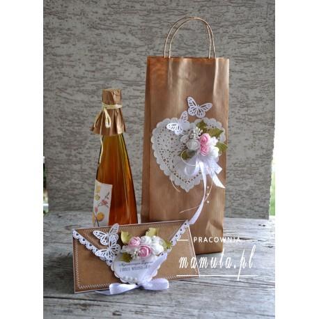 Komplet ślubny -Kopertówka ślubna + torebka na wino